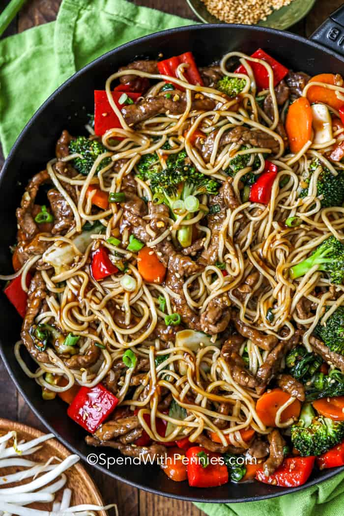 Overhead shot of Beef Stir Fry in a black pan