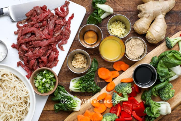 Overhead shot of beef stir fry ingredients