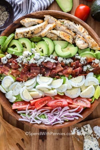 Cobb Salad in a wooden bowl