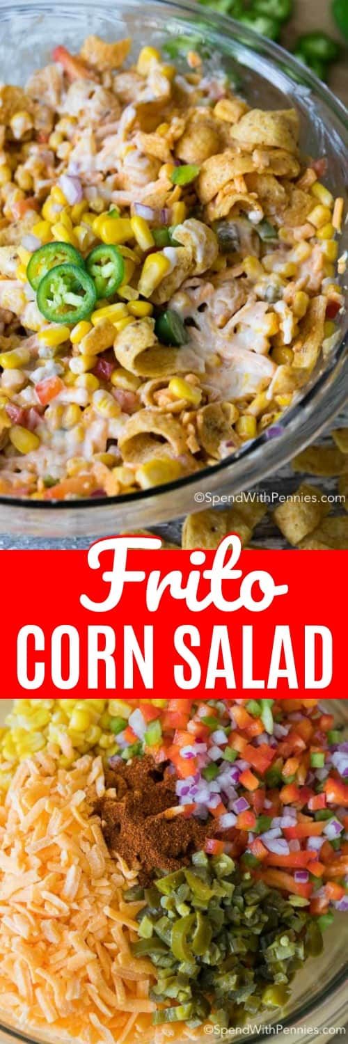 Frito Corn Salad in a clear bowl is pictured at the top. The ingredients assembled to make Frito Corn Salad are pictured in a clear bowl at the bottom