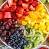 Overhead shot of Fruit Salad in a white bowl