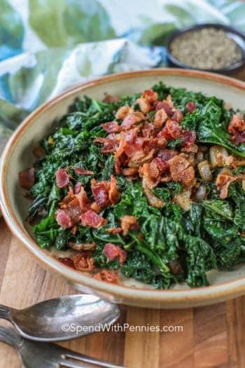 Garlic bacon kale in a bowl