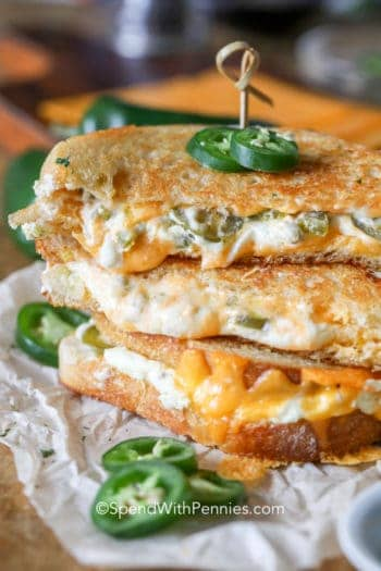 Jalapeno Popper Grilled Cheese garnished with jalapenos