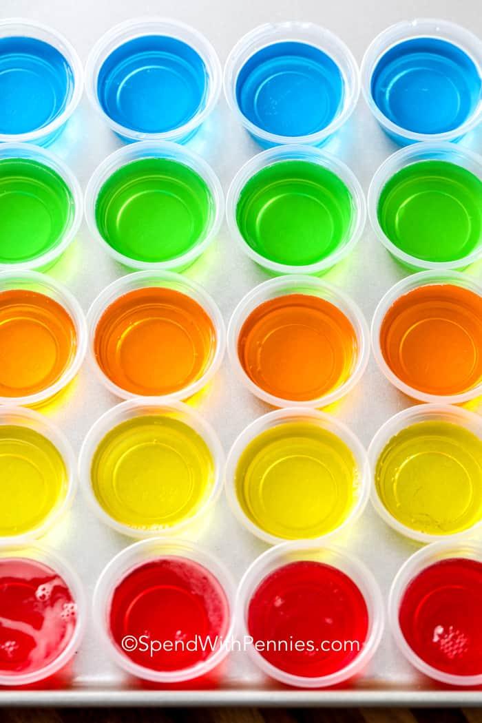 Jello shots on a baking sheet