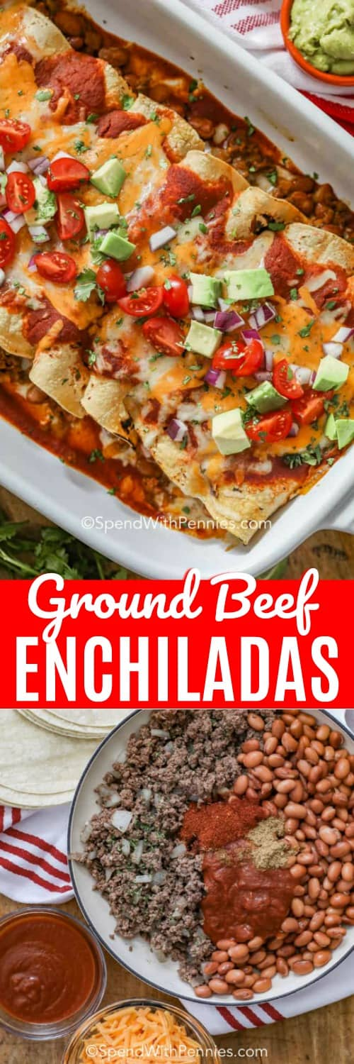 These homemade ground beef enchiladas are one of our go to recipes on taco night. This easy beef enchilada recipe is filled with flavorful ingredients! #spendwithpennies #enchiladas #beefenchiladas #beef #groundbeefenchiladas #enchiladarecipe #easyenchiladas
