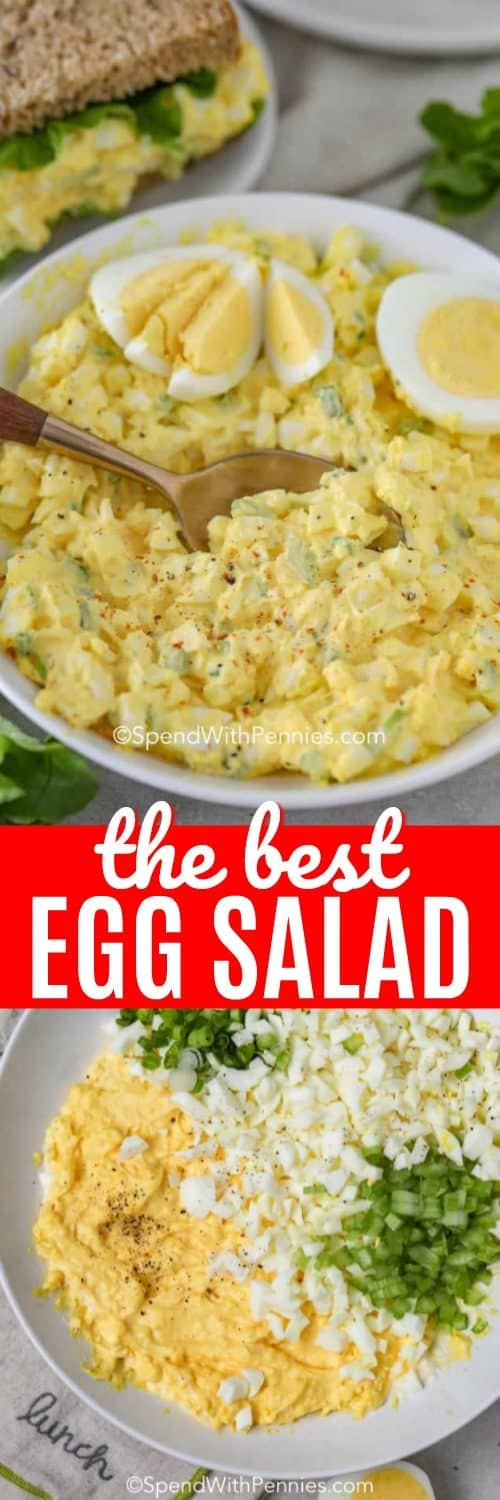 Top photo shows the egg salad mixed in a white bowl. The bottom photo shows the ingredients assembled before being mixed in a white bowl.