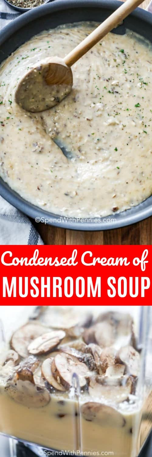 This condensed cream of mushroom is so easy you won't believe it! With three main ingredients: mushrooms, evaporated milk and chicken broth; it so simple to throw together! Try making ahead of time and freezing for a quick meal option! #spendwithpennies #condensedsoup #creamofmushroomsoup #maindish #comfortfood #betterthanstorebought