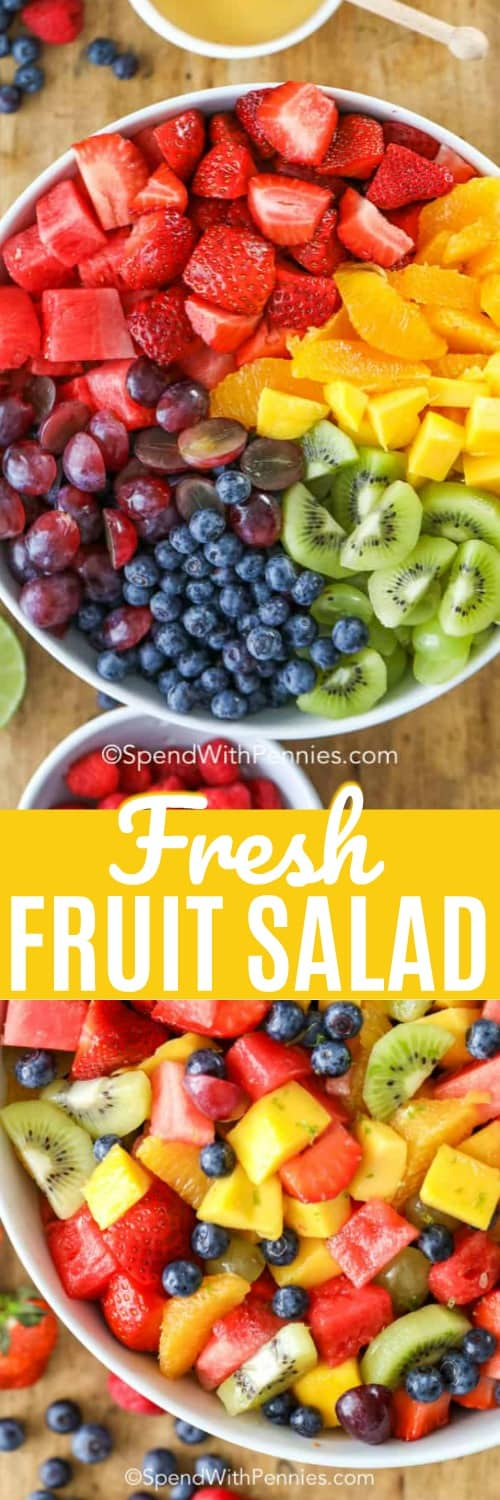 This fresh fruit salad combines all our favorites into one crunchy colorful dish. With watermelon, strawberries, raspberries, blueberries, kiwis, grapes, oranges and mango this salad is sure to satisfy your fruit craving! #spendwithpennies #fruitsalad #freshfruit #summersalad #fruitcocktailsalad #dessert