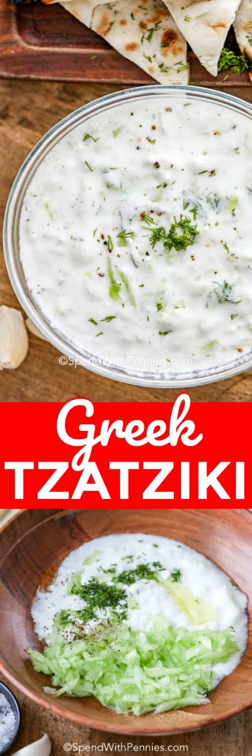 This deliciou Greek tzatziki sauce is the best appetizer dip ever. We love serving it at potlucks or on gyros! #spendwithpennies #tzatziki #tzatzikisauce #tzatzikirecipe #tzatzikidip #authentictzatziki