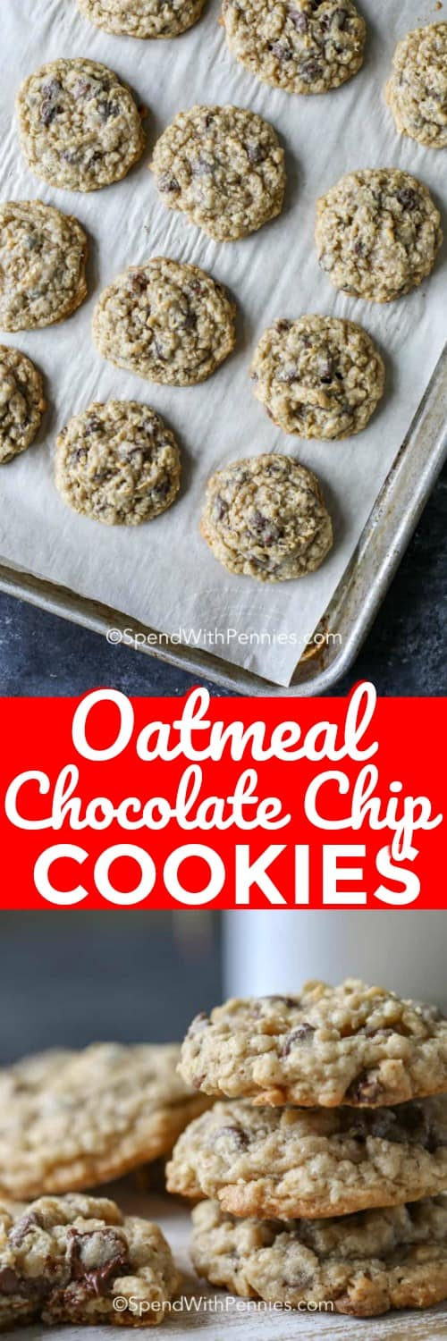 Oatmeal Chocolate Chip Cookies with a title