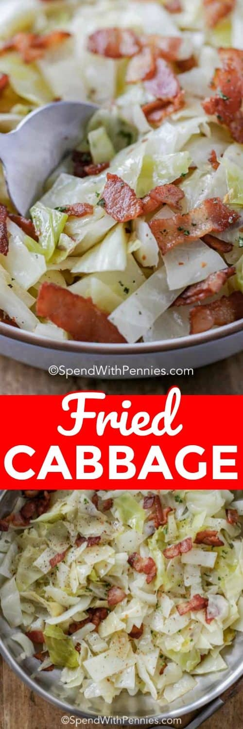 Homemade fried cabbage and bacon is an easy cabbage recipe when I need a quick side dish to serve with dinner! #spendwithpennies #cabbage #cabbageandbacon #friedcabbage #friedcabbageandbacon #bacon #sidedish