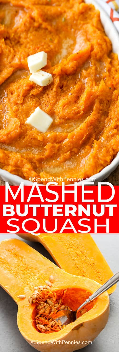 Mashed butternut squash with a title
