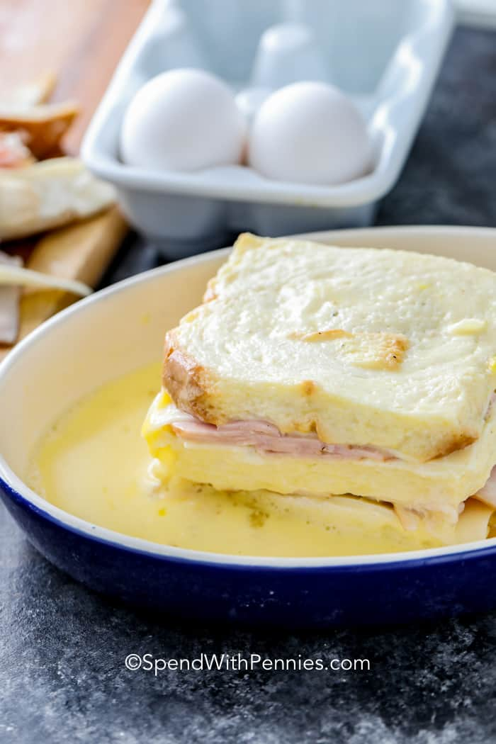 Monte Cristo in an egg mixture