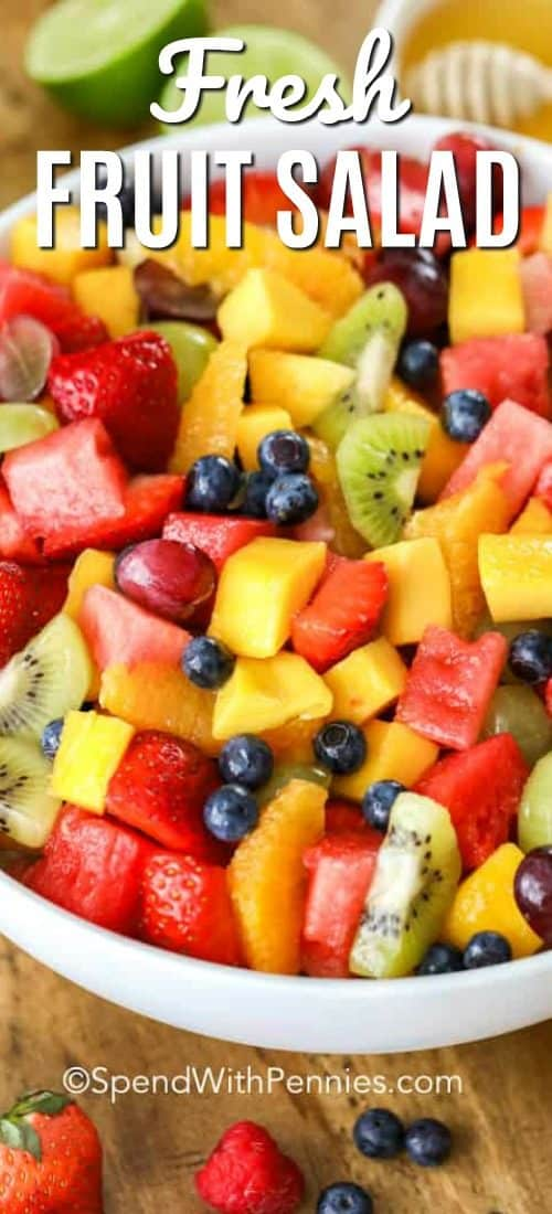 Bowl of Fresh Fruit Salad with a title