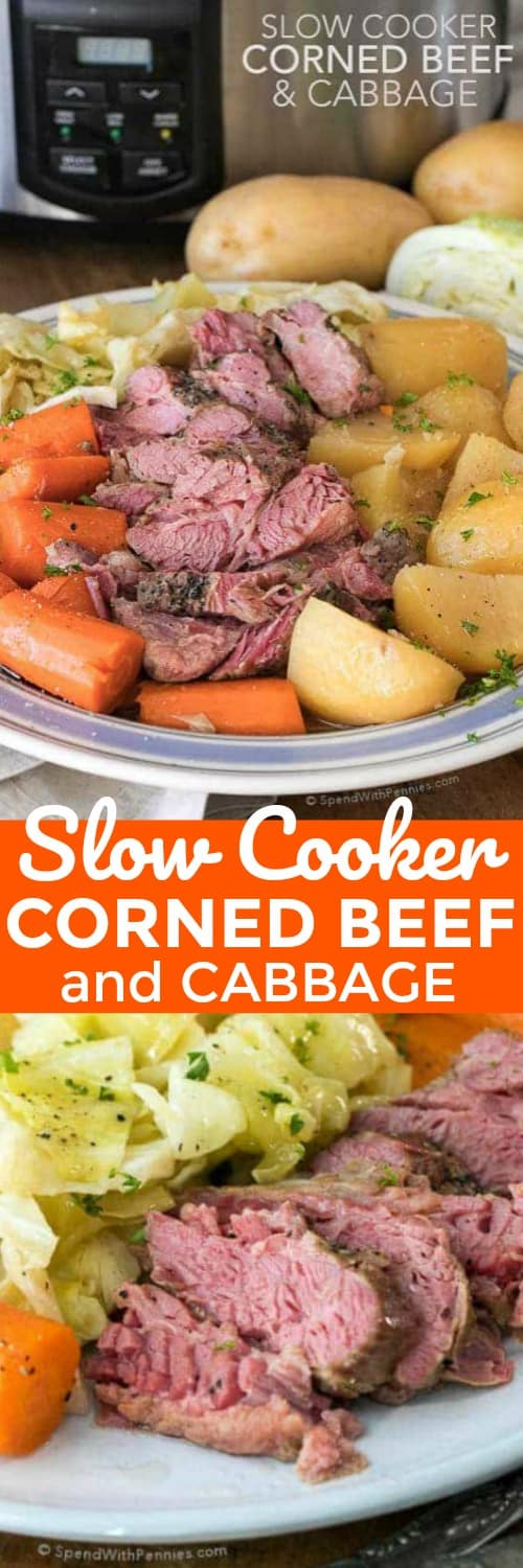 Two photos of Crock Pot Corned Beef and Cabbage with carrots and potatoes on a white plate