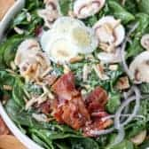 Spinach and Bacon Salad in a bowl