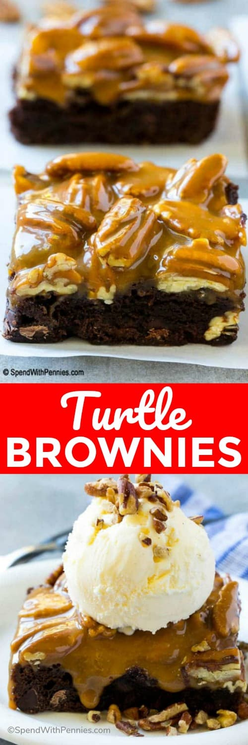 These turtle brownies are decadently delicious with a gooey caramel pecan topping. They're super easy to make and are perfect for any occasion that calls for a sweet treat! #spendwithpennies #brownies #turtlebrownies #easydessert #withpecans #caramelandnuts #bestbrownierecipe #easyrecipe