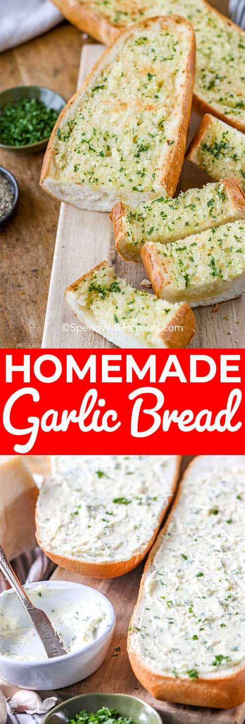 This is our favourite Garlic bread recipe. It is simple, easy and delicious! Try it with a baguette or sliced bread! #spendwithpennies #garlicbread #italian #sidedish #cheesygarlicbread
