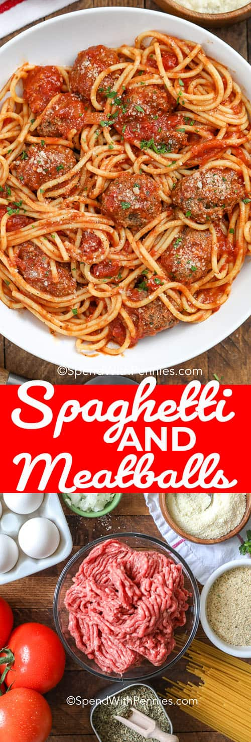 Spaghetti and meatballs is a classic Italian dish that is filled with tomatoes, ground beef,  ground pork, and delicious Italian seasonings! Try making this freezer friendly spaghetti sauce and meatballs as a casserole or even in the crockpot! #spendwithpennies #spaghettiandmeatballs #maindish #pastasauce #slowcooker #freezerfriendly