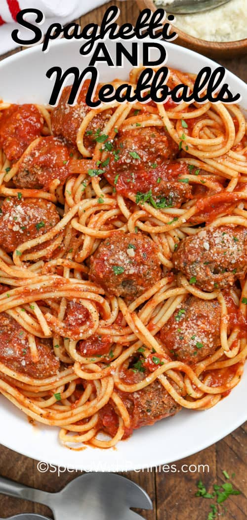 Spaghetti and Meatballs served in a large white bowl