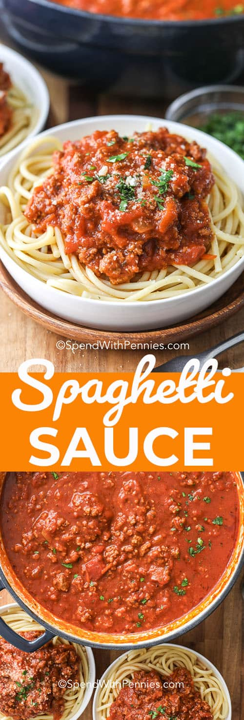 This is the best spaghetti sauce recipe! Perfect for canning and for freezing! This recipe is filled with ground beef, Italian sausage, tomatoes, garlic and other delicious spices! #spendwithpennies #spaghettisauce #crockpot #easyweeknightmeal #homemade