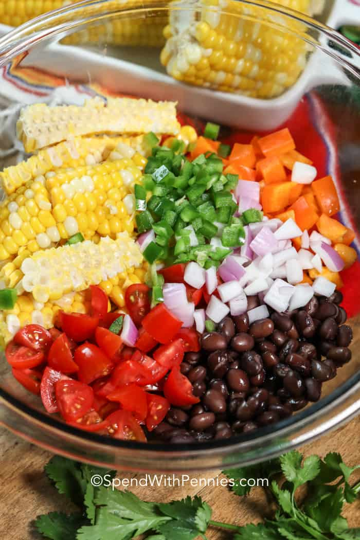 Bowl of black bean and corn salad ingredients.