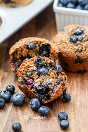 Blueberry Bran Muffins with blueberries on a table