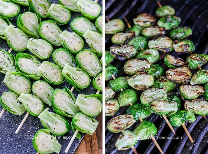 Two imahes showing brussels sprouts on skewers being seasoned and then grilled.