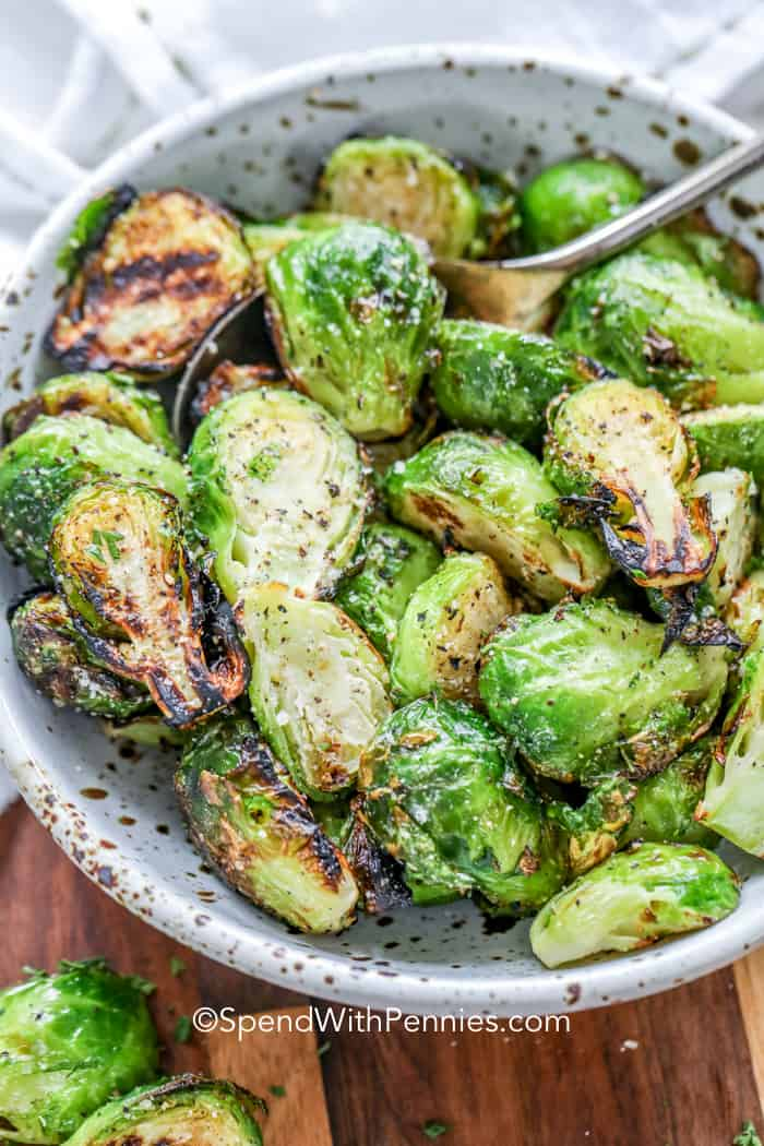 Grilled brussels sprouts in a bowl