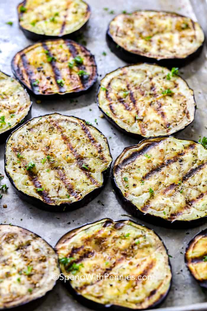 Grilled eggplant on a sheet pan