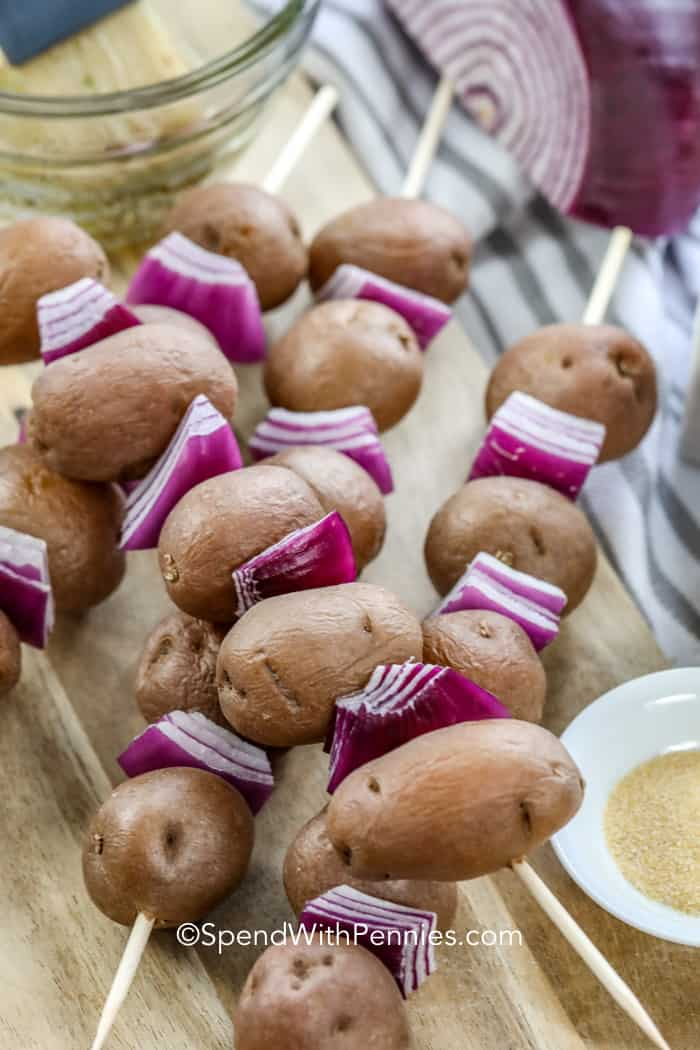 Potato Skewers with red onion