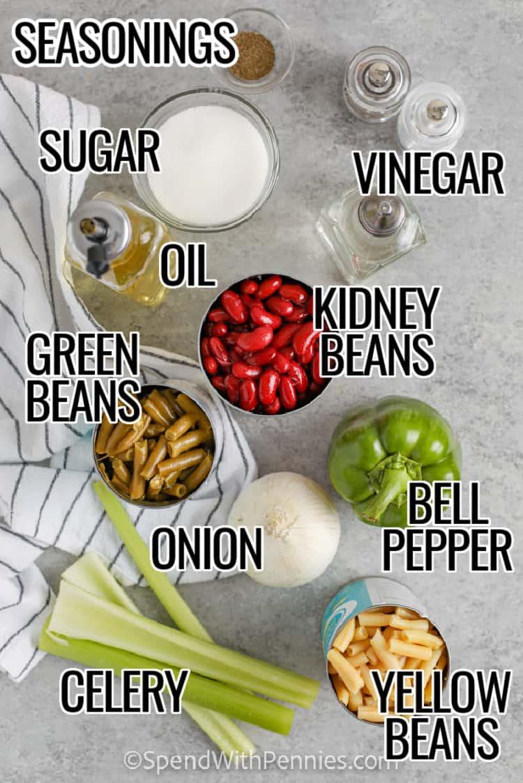 Ingredients for 3 Bean Salad
