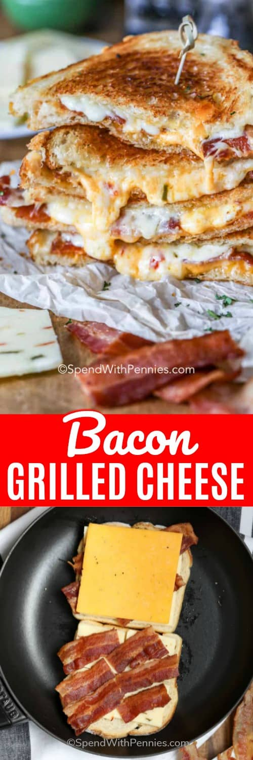 A bacon grilled cheese sandwich! This sandwich combines all my favorites! Cheese and bacon are melted between two pieces of sourdough bread to create this tasty treat! #spendwithpennies #bacongrilledcheese #cheesegrilledsandwich #lunch #kidfriendly