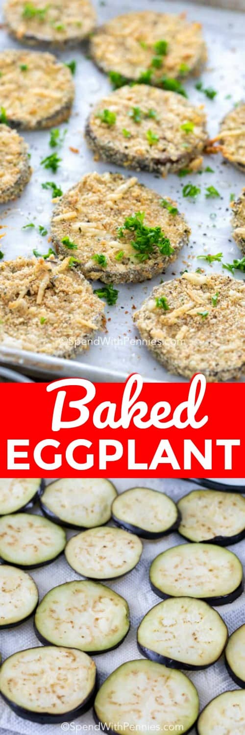These baked eggplant slices are delicious! Each slice is dredged in flour, egg, breadcrumbs and  some Italian spices and parmesan! It is baked to a perfectly soft yet crispy texture, my family can't get enough! #spendwithpennies #bakedeggplant #meatlessmonday #meatlessmeal #sidedish #italiancuisine