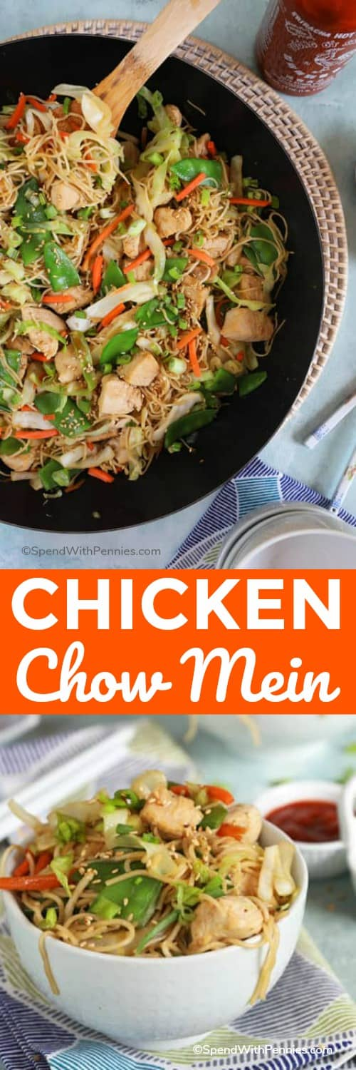 Chicken chow mein in a white bowl and in a pan with a title