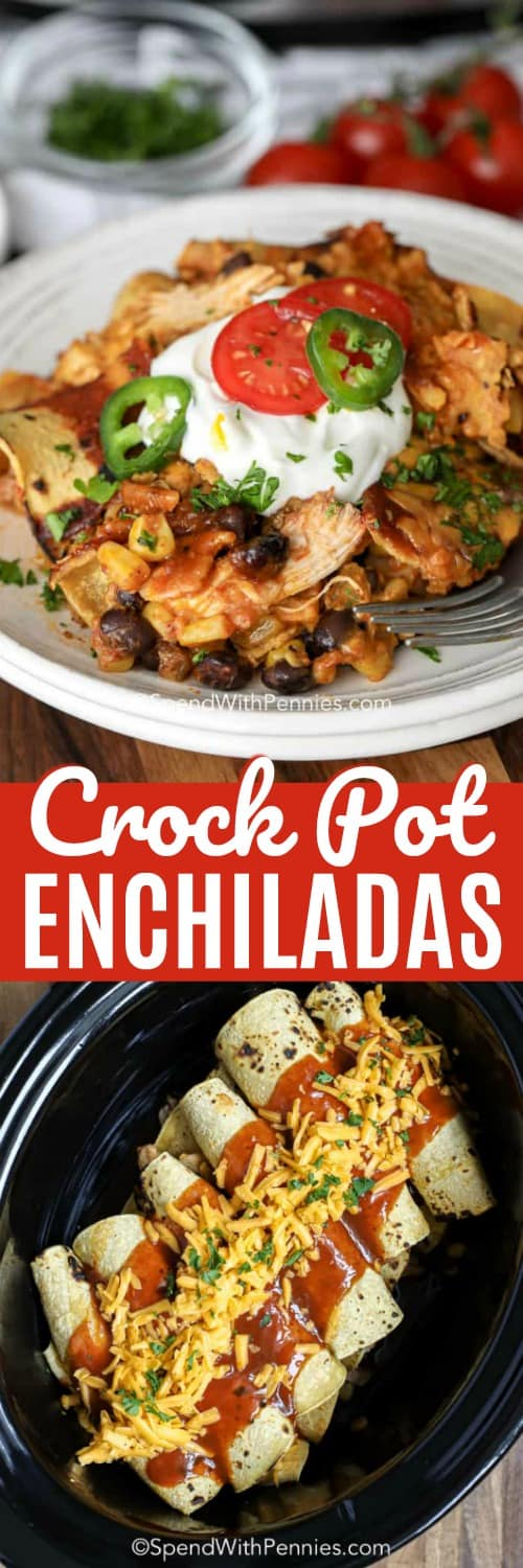 Crock Pot Chicken Enchiladas in a crock pot and on a plate with a title