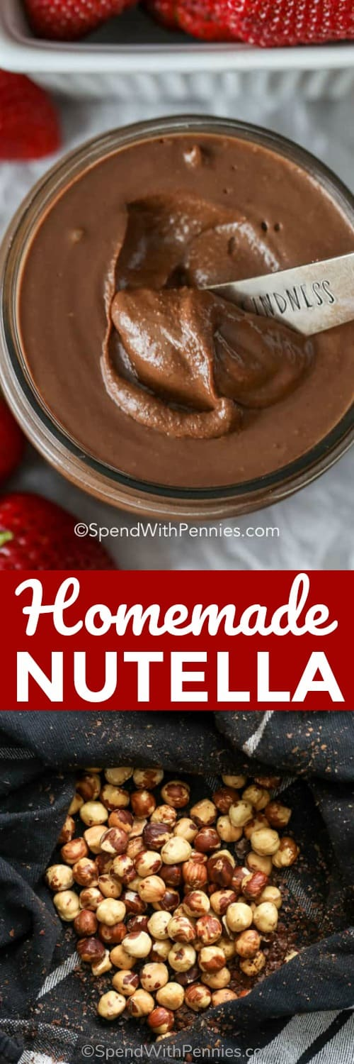 This homemade nutella recipe is a must! It is so simple to make with just two main ingredients: hazelnuts and chocolate chips! You won't be able to resist licking this spoon!  #spendwithpennies #homemadenutella #chocolatehazelnutspread #dessert #breakfast #kidfriendly