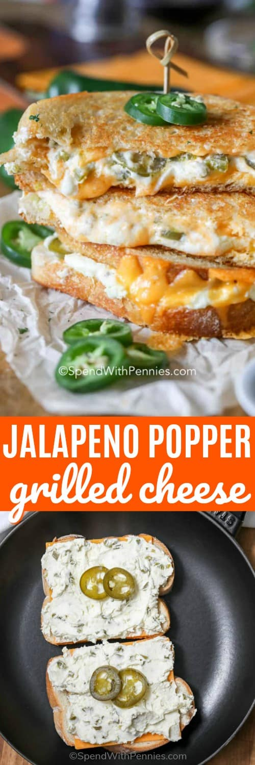 What could possibly be better than grilled cheese? How about a jalapeño popper grilled cheese! With cream cheese, sourdough bread and jalapeños this spicy treat is irresistible. #spendwithpennies #jalapeñopoppergrilledcheese #grilledcheese #lunch #sandwich #maindish