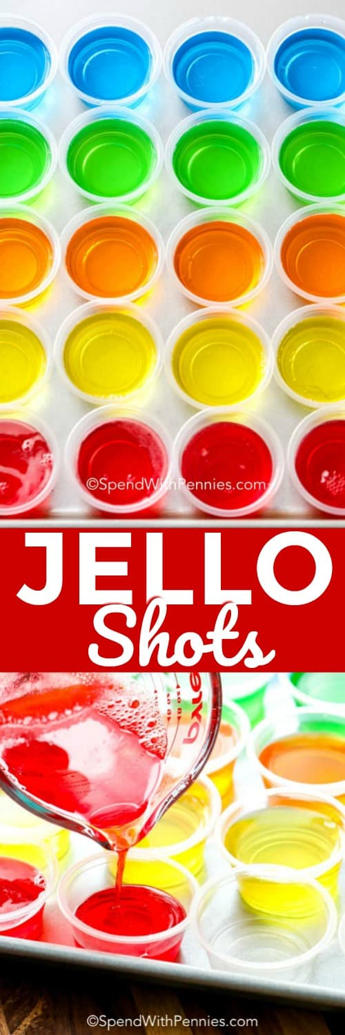 This jello shot recipe makes the best vodka jello shots! Switch up your vodka or gelatin for  an endless variety of flavor combinations! #spendwithpennies #jelloshots #summershots #flavoredjelloshots #adultjello #gelatin