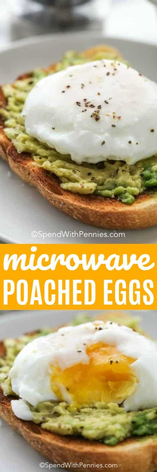These easy microwave poached eggs are one of the best ways to make a perfectly poached egg. It's the perfect way to make eggs for eggs benedict, avocado toast, or plain toast! #spendwithpennies #poachedeggs #eggs #howtopoacheggs #microwavepoachedeggs