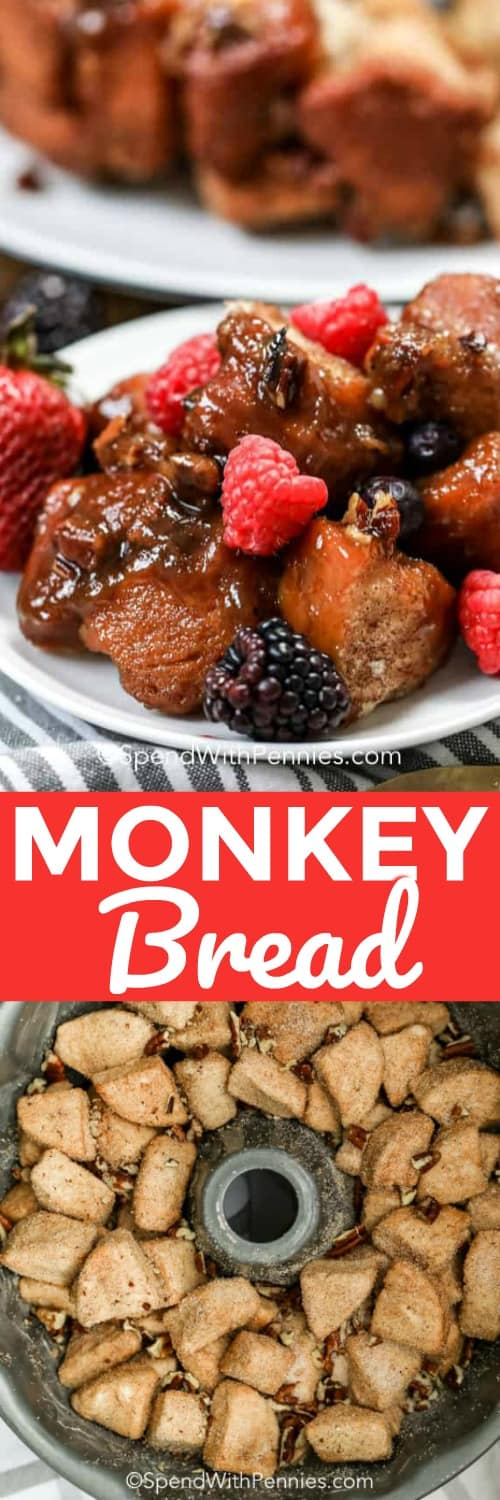 Monkey bread with biscuits?! Yes please! This recipe is so easy to make and uses canned biscuit dough to keep your prep time a minimum! I love topping this dessert with toasted pecans and fresh berries to take it to the next level for my guests! #spendwithpennies #monkeybread #pullapartcinnamonrolls #dessert #kidfriendly