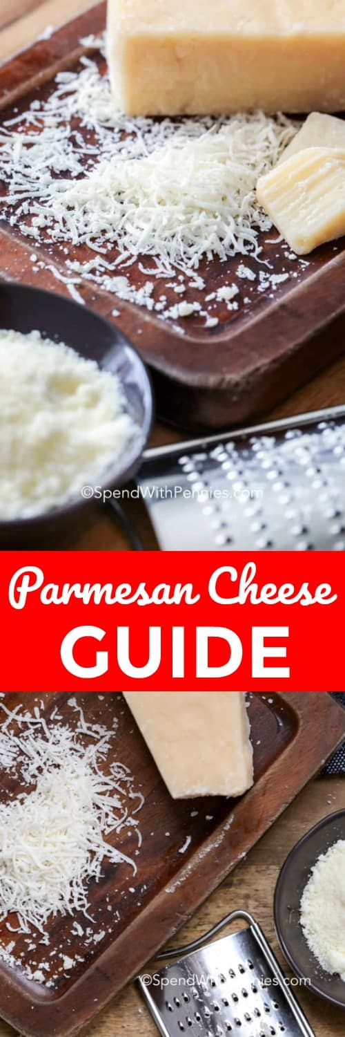 This guide to parmesan cheese will teach you about shredded and grated parmigano, how to store it, how long parmesan cheese lasts, and how to choose a wheel or brick of parmesan cheese! #spendwithpennies #parmesancheese #cheese #parmigano #parm
