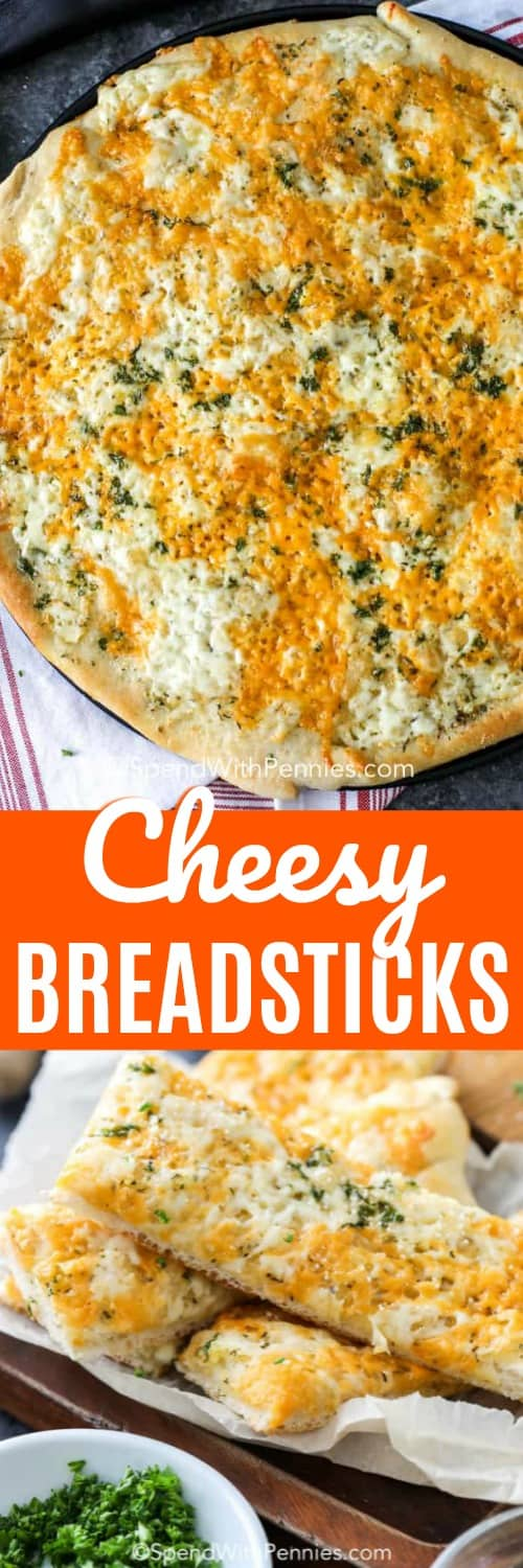 This cheesy breadstick recipe is the perfect side to any pasta, soup or salad dish! With mozzarella, parmesan and cheddar cheese it is baked into a bubbly irresistible side! #spendwithpennies #thebestcheesybreadsticks #cheesybreadsticks #sidedish #appetizer #italian #breadsticks