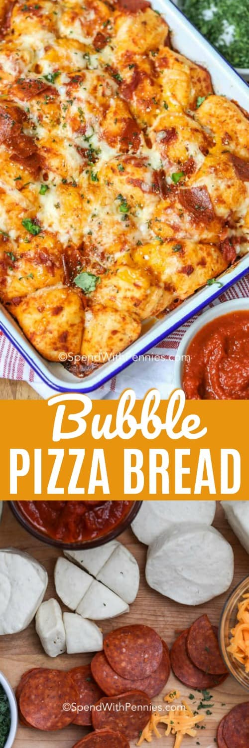 Bubble Up Pizza bread is a quick and easy 3 ingredient meal! Canned biscuit dough, gooey cheeses, pizza sauce and your favorite toppings are baked until golden and bubbly! #spendwithpennies #biscuitdough #pizza #bubblebread #bubblepizza #pizzabread #appetizerrecipe #gamedayrecipe