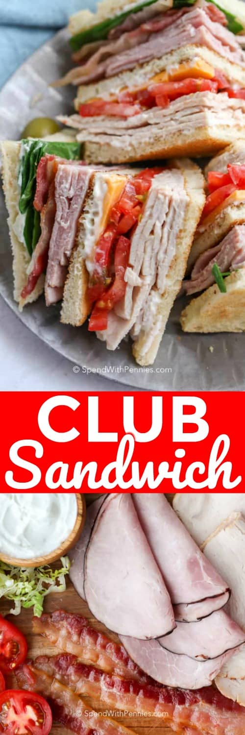 Club sandwich ingredients on a wooden board and club sandwich on a plate with a title