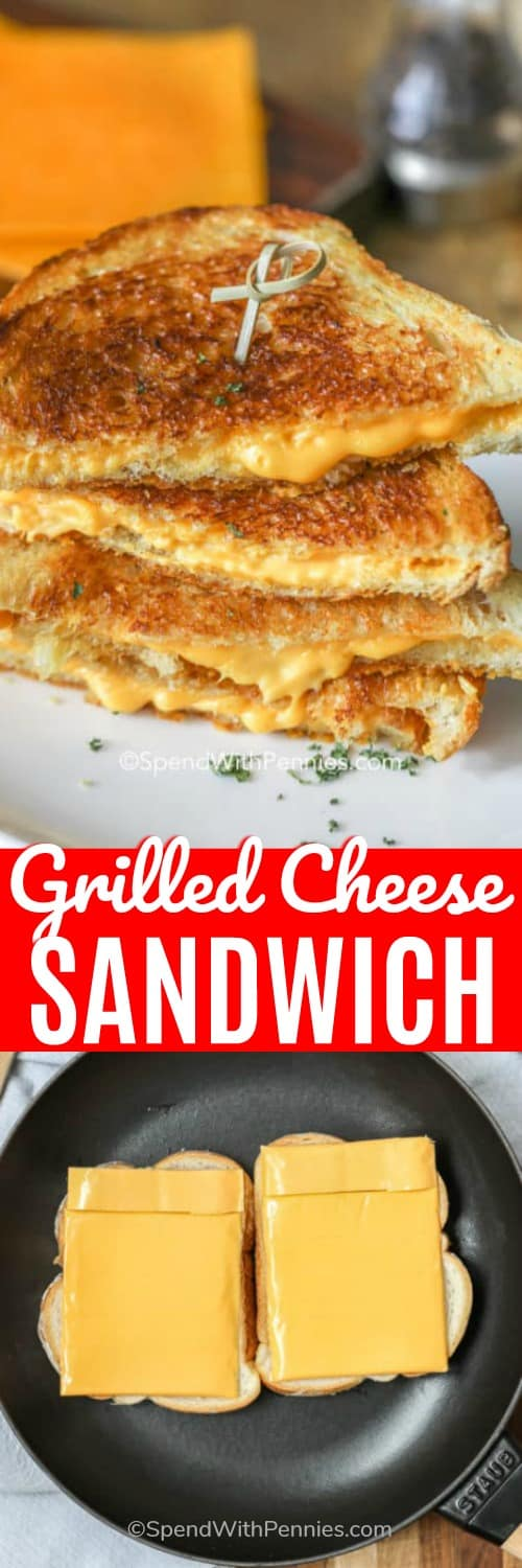Grilled cheese sandwich on a plate and uncooked grilled cheese sandwich in a pan with writing