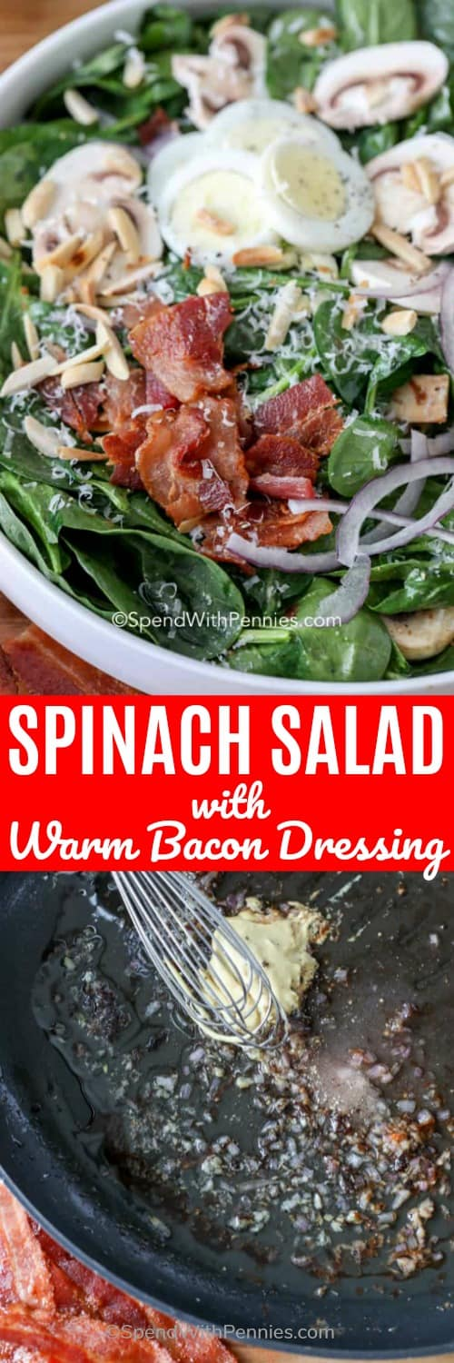 Warm spinach salad is a fun twist on a classic spinach salad recipe! Crisp spinach, mushrooms, bacon and parmesan are tossed in a warm dressing made from the bacon drippings! Mmmm! Toss on some toasted almonds and it is complete! #spendwithpennies #spinachsalad #warmbacondressing #salad #maindish #summersalad