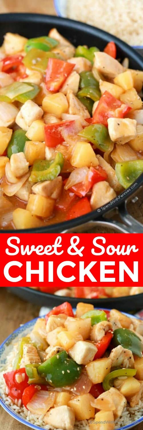 Sweet and sour chicken on a plate and in a pan with a title