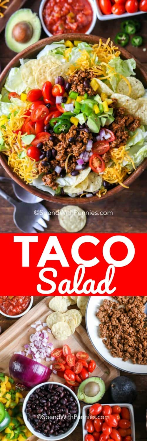 Crispy, crunchy and colorful, who doesn't love a Taco Salad? This easy taco salad recipe is so much fun to put together because there are so many different toppings you can add! #spendwithpennies #tacosalad #tacosaladrecipe #easytacosalad #doritotacosalad #beefrecipe #weeknight #easyrecipe #mexicaninspired #tacosaladbowls #southwest #besttacosalad