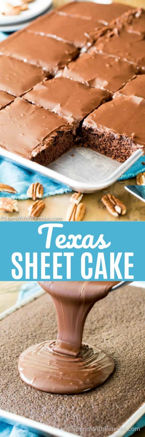 Texas Sheet Cake in a sheet pan and with icing being poured on with a title
